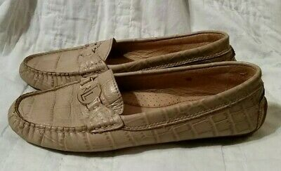 8becbd10008 Ralph Lauren Carley Womens 6 M Driving Loafer Moc Light Brown Leather Croc  Shoes