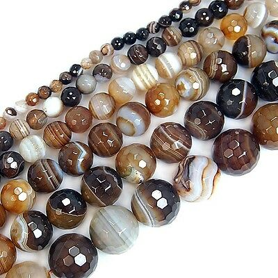 """15"""" Faceted Coffee Striated Agate Round Beads 4mm 6mm 8mm 10mm 12mm"""