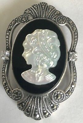 Victorian Vintage 925 Sterling Silver Marcasite CAMEO MOP & Black Onyx Pendant!