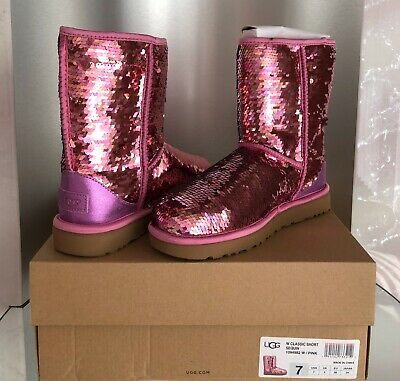 2ef553b33ef NIB UGG WOMEN'S Classic Short Sequin Boots in Pink size 7 - $125.00 ...
