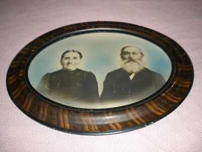 Antique Large Oval Wood Picture Frame Tiger Striped Wood 25 x 19.25 no glass