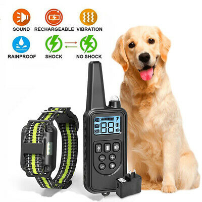 NEW Waterproof Pet Dog Training Collar Rechargeable Electric Remote Shock LCD