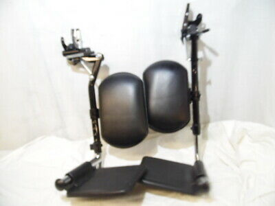 2 Adjustable Leg Foot Rest For Wheelchair With Black Leather Padding Pristine
