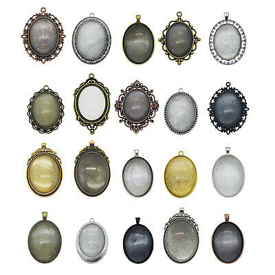 4Sets/lot Alloy Mixed Assorted Oval Setting Blank Tray Glass Cab Pendant Jewelry
