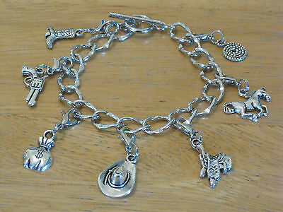 Silver-Tone Charm Bracelet Western/Cowboy/Cowgirl Bank Robber/Horse/Boot/Hat+