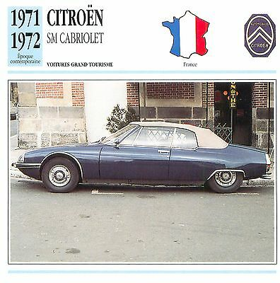 Citroën SM Cabriolet V6 Maserati 1971-1972 France CAR VOITURE CARTE CARD FICHE