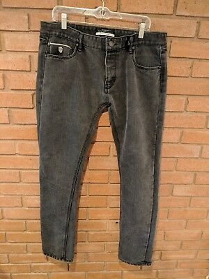 CPS Men's Raw Denim Jeans Size 36 Selvedge Hem Button Fly Gray Pipe Fit