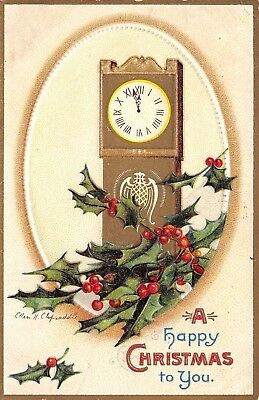 Ellen H Clapsaddle Christmas~Grandfather Clock~Holly Berry~Gold Embossed~1909