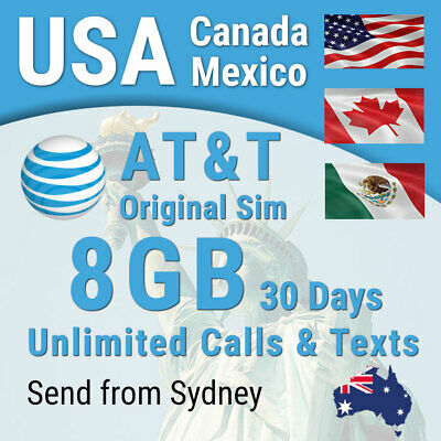USA AT&T Sim card, 8GB, Unlimited calls + texts, USA (incl Hawaii) Canada Mexico