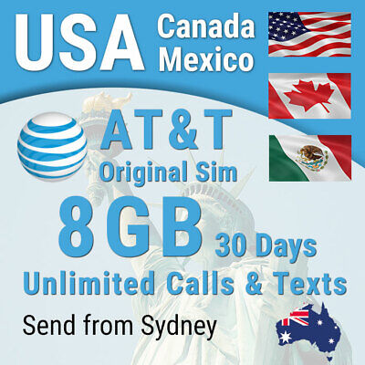 USA (inc Hawaii) Canada Mexico 30 days Sim card 4G-8GB, Unlimited calls and text