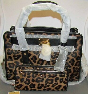 5afb5de158c4 Michael Kors Hamilton French Binding Cheetah Haircalf E/W Satchel & Wallet