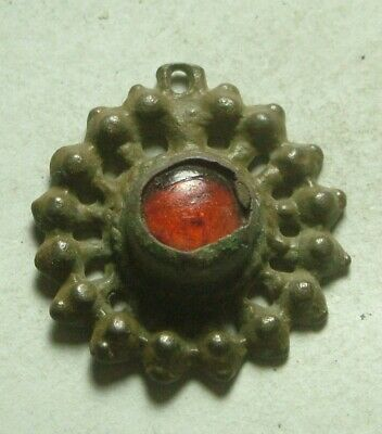 Rare ancient Roman Byzantine flower pendant red bead 16 pedals artifact intact