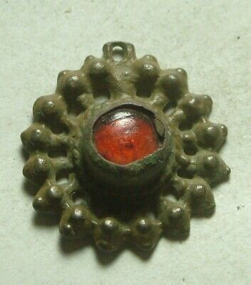 Rare ancient Roman Byzantine open work pendant red glass paste artifact intact