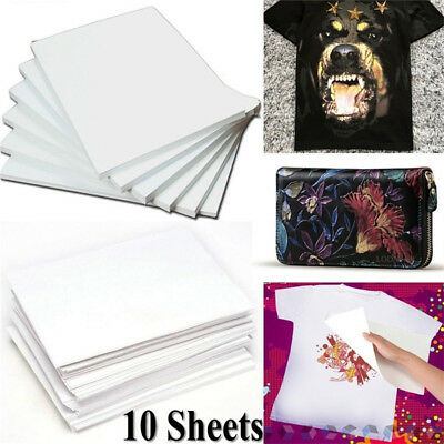 10Pcs A4 Iron On Print Heat Press Transfer Paper Light Fabric T-Shirt Handmade ~