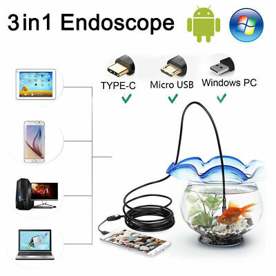 3 in 1 USB Type C Endoscope 7mm Inspection HD Camera For Android PC Borescope UK