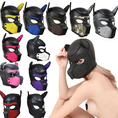 Sexy Adult Cosplay Role Play Dog Full Head Mask Soft Padded Latex Rubber Puppy L