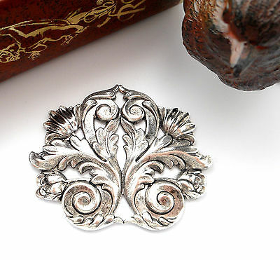 ANTIQUE SILVER Flower Flourish SCROLL LEAF Stamping ~ Oxidized Finding (FB-6042)