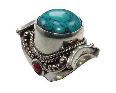 On Sale !! Lovely Tibetan Turquoise,Coral Nepali Ring Size 7.5 US Silver Plated