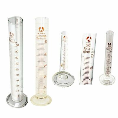Graduated Glass Measuring Cylinder Chemistry Laboratory Measure LW