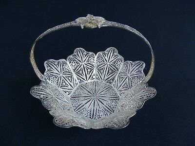 Antique Chinese Sterling Silver Fillagree handled basket Lotus Flower China