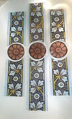 Salvaged early Victorian stained glass border sections