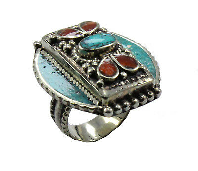 Lovely !! Coral And Tibetan Turquoise Nepali Ring Size 8 US 925 Silver Plated