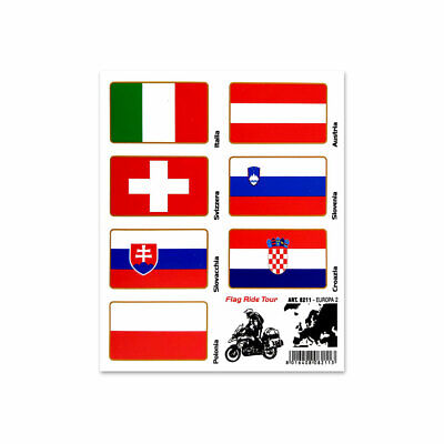 Stickers Adesivi Bandiere Flag Ride Tour Europa 2 per Bauletti Moto