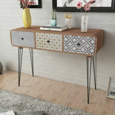 Console Table Practical Side Sabinet Large Tabletop 3 Drawers Steel Pin Legs