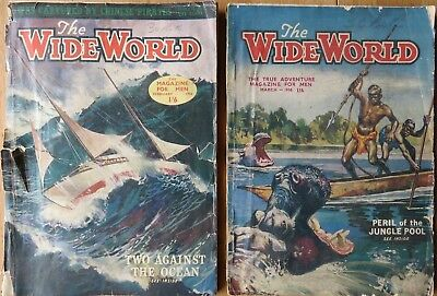 Vintage The Wide World Magazine For Men x2 February & March 1956 Numbers 692&693