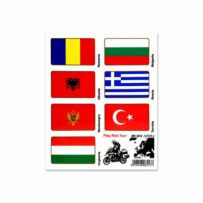 Stickers Adesivi Bandiere Flag Ride Tour Europa 4 per Bauletti Moto