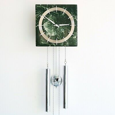JUNGHANS Vintage WALL Clock CHROME RARE LOUDSPEAKER CHIME! SPECIAL 1960s Germany