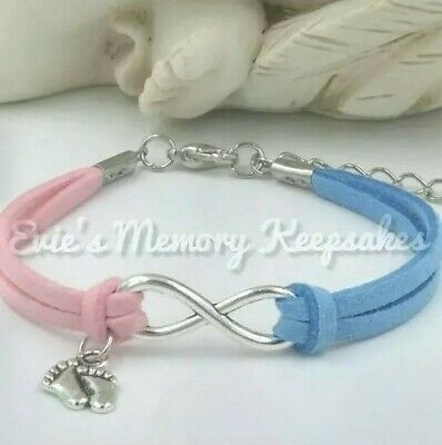 Baby Loss Miscarriage Stillbirth Memorial Keepsake Infinity Bracelet Pink Blue