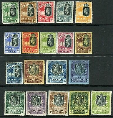 GAMBIA-1922-9 A lightly mounted mint set of 19, some more heavily mounted Sg 122