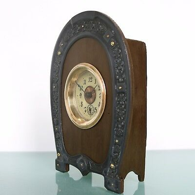 Antique German ALARM Clock JUNGHANS Mantel VERY RARE! 1910s HORSESHOE RESTORED!
