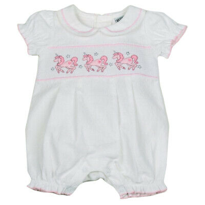 Baby Girls Spanish Style Romany White & Pink Unicorn Smocked Romper Outfit S19
