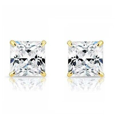 2CT Princess Cut Created Diamond Square Stud Screwback Earrings 14K White Gold