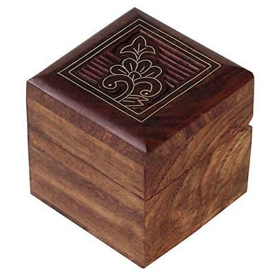 India Handcrafted Rosewood Trinket Jewelry Box with Mughal Inspired Brass Inlay