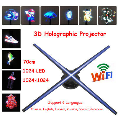 """Wifi HD 28"""" 3D Hologram Projector Holographic Fan LED Advertising Player Machine"""
