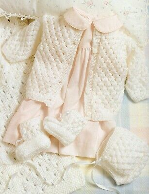 Knitting Pattern-Baby Layette upto 6 months Blanket/ Cardigan/Hat/Booties P0330a