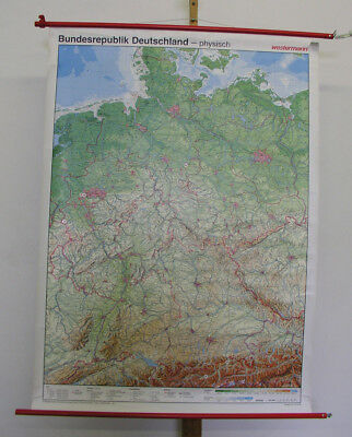 Beautiful Schulwandkarte Germany W + Ex GDR Physical ~ 1995 98x135 Vintage Map