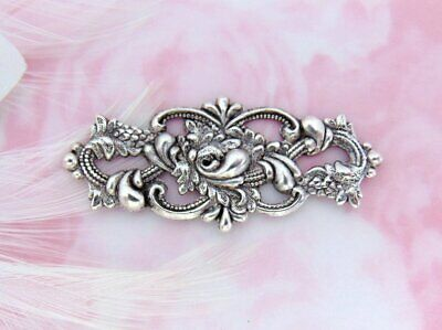 ANTIQUE SILVER (2 Pieces) Victorian Floral Flower Stamping ~ Ornament (FA-6063)