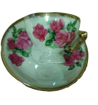 Small Iridescent Footed Teacup & Saucer Pink Roses & Gold Trim Pattern E - 801