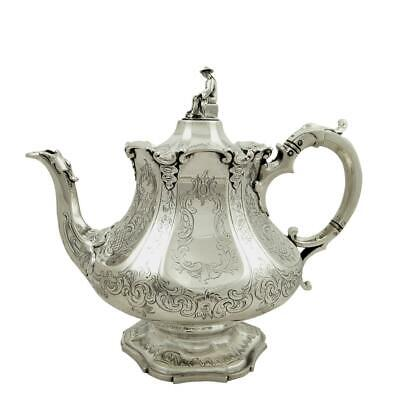 Antique Early Victorian Sterling Silver Teapot - 1847