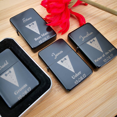 Best Man Personalised Lighter Wedding Day Gift Engraved Usher Groomsmen lighters