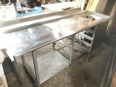 2 X Stainless Steel Tables / Benches For Pass Through Dishwasher