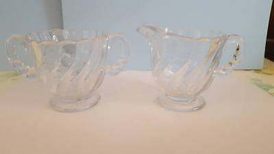 Vintage Depression Swirl Glass Sugar Bowl & Creamer; Scalloped Edge