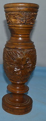 "Beautiful Brown Wood Vase w/ Flowers and Leaves Decoration   12-1/2"" Tall"