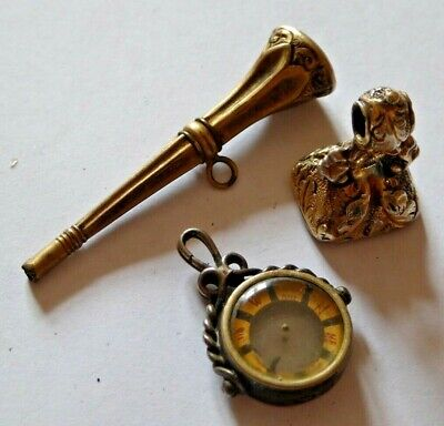 3 x Antique Gold Plated & Silver Pocket Watch Chain Fobs - Key / Seal / Compass