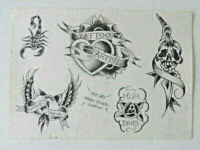 vintage hand coloured TERRY GILES tattoo flash sheet black and grey NOT MACHINE