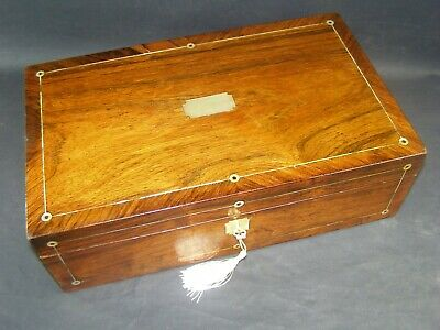 Lge Antique Rosewood Document Box  Lock & Key 1870 Mother Of Pearl Roundels Etc